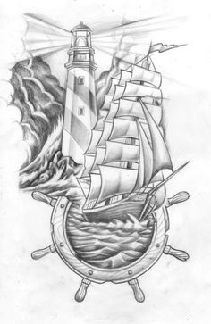 Lighthouse, ship n Helm for Mr.Bartabee. #tattoo #shiptattoo #lighthousetattoo 2013