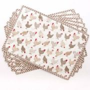 Taupe Gingham Chicken Placemat Set, 6