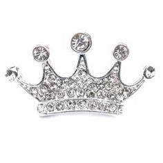 Large Silver Rhinestone Crown Pin
