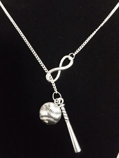 Infinity Baseball Bat Softball Allstar Y Lariat Necklace Softball Necklace, Softball Jewelry, Softball Gifts, Softball Quotes, Softball Players, Girls Softball, Lariat Necklace, Softball Stuff, Baseball Stuff