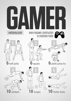 Gamer Workout. This is smart. I don't watch all that much TV so those sort of work out challenges don't work for me, but this... this I do. Also check out neilarey.com lots of good workouts.