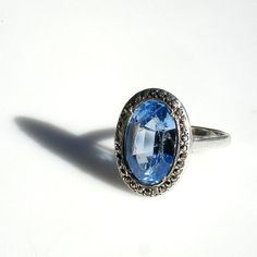 Art Deco Sterling Silver Ring with Blue Stone & Marcasites