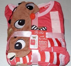 Rudolph the Red Nosed Reindeer Womens Pajama Set with Eye Mask SZ Med New #Unbranded #PajamaSets #Everyday