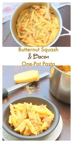 Velvety and rich. But #healthy - Butternut Squash Bacon One Pot Pasta ...