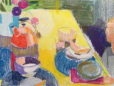 """ngruskin:  Interior, pencil & crayon, 9"""" x 12"""", 5/5/16"""