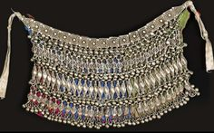 Yemen | 'Labba' Silver on fabric necklace | ca. mid 1900s