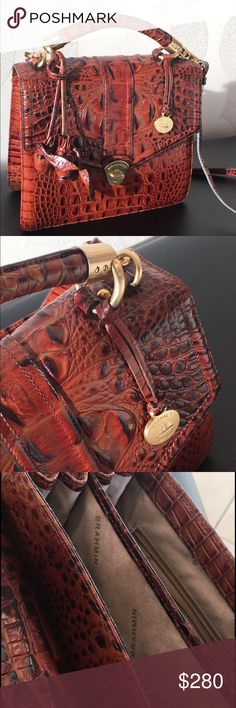 Brahmin Olivia Rose Satchel in Pecan A top handle flap with turn lock closure set in edgy, embossed leather ensures security for your personal items and great style. The removable crossbody strap adjusts to your prefect carry height and comfort. Brahmin Bags Satchels