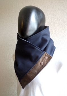 Mens and Womens Scarf.Unisex Cowl Comfy & warm Navy blue wool and faux suede metallic snaps.Classic and chic gift for men women autumn Sewing Clothes, Diy Clothes, Cowl Scarf, Men Scarf, Blue Wool, Neck Warmer, Womens Scarves, Metallica, Parfait