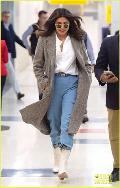 Priyanka Chopra Is Fashionable at the Airport in NYC!: Photo Priyanka Chopra knows how to travel in style! The Quantico actress was spotted at JFK airport on Tuesday (October in New York City. Priyanka Chopra Hot, Jfk, Bollywood Fashion, Travel Style, Latest Trends, Duster Coat, Actresses, Indian
