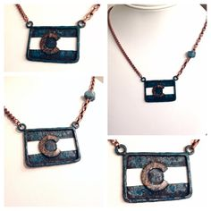 Blue Patina Copper Colorado Flag Necklace with by Cu29Creations