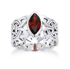 Borre Knot Garnet Ellipse Viking Braided Wedding Band Norse Celtic Sterling Silver Ring(Sizes 4,5,6,7,8,9,10,11,12,13,14,15) (Jewelry) $89.97