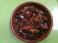 """""""Pericaneta escaldà"""" con ajitos tiernos y tomate.  ; )"""