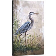 In the Reeds-Blue Heron A Painting Print on Wrapped Canvas