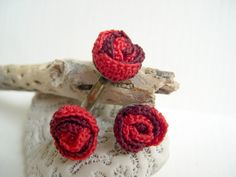 #Red #rose crochet earrings and ring set,  #Valentines gift idea