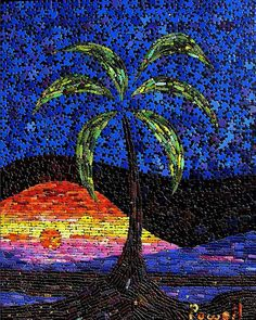Saw this in Sanford last week - he painted puzzle pieces and created a mosaic with them.