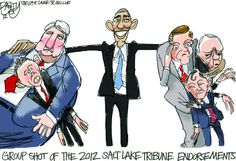 """""""Obama group hug""""  This Pat Bagley editorial cartoon appears in The Salt Lake Tribune on Sunday, Oct. 21, 2012."""