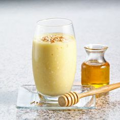 Try this as a recovery drink or post-workout pick-me-up: Pina Colada Power Honey Smoothie (no alcohol) INGREDIENTS: 1 to 2 Tablespoons of honey cup of water cup of low-fat coconut milk cup of pineapple chunks cup of ice 1 Power Smoothie, Smoothie Drinks, Fruit Smoothies, Healthy Smoothies, Healthy Drinks, Smoothie Recipes, Healthy Snacks, Healthy Eating, Healthy Recipes