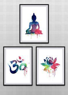Set of 3 Yoga Meditation Zen Watercolor Art Print - Om Symbol, Buddha, Lotus Flower - Wall Decor Birthday Gift