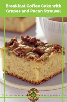Try this homemade coffee cake recipe with cinnamon and grapes from California, and topped with pecan streusel, for a warm and delicious breakfast or dessert. #coffeecake #coffeecakerecipes #coffeecakeloaf #recipes #cinnamon #recipeseasy #easy #cinnamonstreusel #pecan #loaf #streusel #homemade Best Dessert Recipes, Fun Desserts, Breakfast Recipes, Cinnamon Recipes, Baking Recipes, Coffee Cake Loaf, Grape Recipes, California Food, Winter Recipes