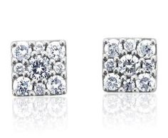 0.50 carat Cluster Diamond Stud Earrings in 14k White Gold (HI, I1-I2)