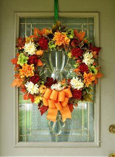 Large Fall Wreath for Front Door, Burlap Wreath Fall, Autumn Wreath, Fall Porch Decor, Autumn leaves, #fall Foliage Wreath, Farmhouse Wreath