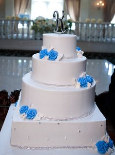 Blues and Crystals Buttercream Wedding Cake