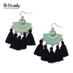 Artilady moda verde color de boho joyería de oro pendientes de gota de la borla pendientes de gota para el partido regalo de las mujeres