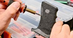 How to reshape and stipple the grip on a polymer handgun to your liking, with tools you probably have right now. Custom Glock, Custom Guns, Glock Stippling, Glock Mods, M&p Shield 9mm, Pistol Annies, Gun Art, Gravure, Masking Tape