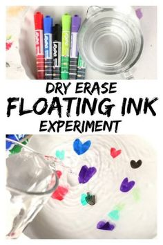 """Amazing Dry Erase """"Floating Ink Experiment""""- Make your drawings float with this fascinating science activity! # Parenting activities Dry Erase and Water """"Floating Ink"""" Experiment At Home Science Experiments, Preschool Science Activities, Science Projects For Kids, Science Lessons, Science For Kids, Science Classroom, Science For Preschoolers, Mad Science, School Age Activities"""