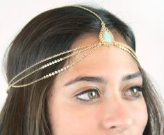 CHAIN HEADPIECE chain headdress head chain by LovMely on Etsy, $28.00