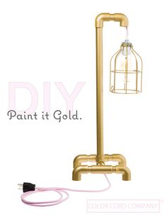 DIY Painted PVC Table Lamp with Blush Color Cord