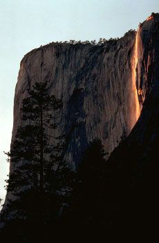 Horsetail Fall,  Yosemite.  Mid to late February the setting sun sets the waterfall ablaze!