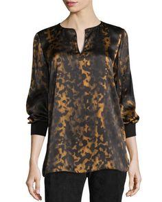 TCLWU Lafayette 148 New York Kelsey Leopard-Print Split-Neck Blouse, Black/Multi