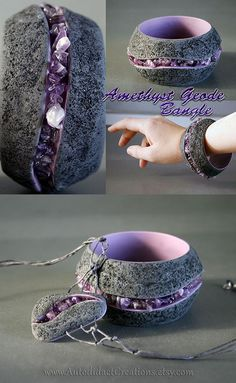 Amethyst Geode Style Bangle Bracelet and Pendant by wizardcopy.deviantart.com on @deviantART