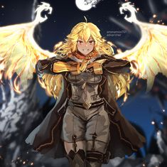 The time has come for Yang to join her sister. World War II RWBY [Prepare for War] Rwby Anime, Rwby Fanart, Rwby Characters, Female Characters, Rwby Yang, Yang Yang, Character Art, Character Design, Rwby Bumblebee