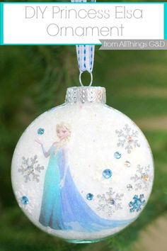 Gorgeous handmade Princess Anna Christmas ornament - made with a transfer stuck onto a clear glass bauble