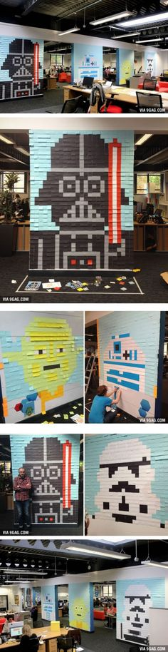 Workers Use Post-It Notes To Turn The Office Walls Into Star Wars Murals