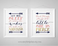 Nursery Print Set - Fierce, Mountains Shakespeare, And though she be but little - Let her sleep, Prints, wall art, poster, Navy, Gold, Coral