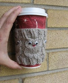 Owl coffee cup cozie, perfect handmade crochet/knitting gift for a coffee or tea enthusiast! ...or owls!