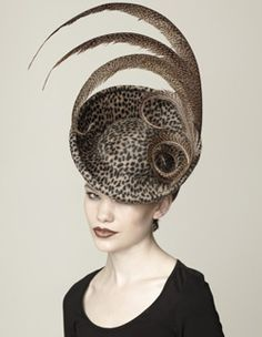 One gigantic eye-roll.a hat for a satirist. Do like the feather composition. Crazy Hats, Millinery Hats, Stylish Hats, Church Hats, Fancy Hats, Kentucky Derby Hats, Love Hat, Felt Hat, Fascinators