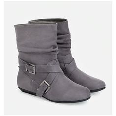 WOMENS LADIES GREY FLAT SUEDE PULLON ANKLE BOOTS CHELSEA RIDING SHOE SIZE FB-490