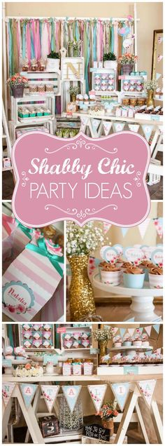What a gorgeous shabby chic aqua and pink floral party! See more party ideas at CatchMyParty.com!