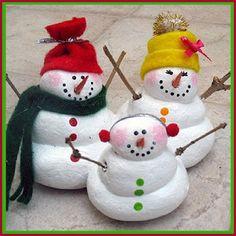 Turn Salt Dough Into These Cute Snow People Family Snowmen