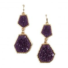 Amethyst Geometric Geode Statement Earrings   when i find my lilac shoes...i can have these!