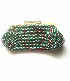 Super cute 1970s vintage micro beaded clutch or coin purse. Has gold  hardware fae9add06afbd
