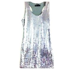 NEW Silver Sequin Mini Racerback Party Dress NEW with tags. Silver sequins all the way around dress. Hits above knees. Available in M and L. Original price $128. Dresses