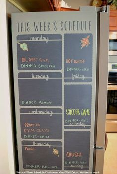 Are you busier than ever now that the kids are back to school? Susan Penning share how to organize your life with a Kitchen Schedule Center using a Chalkboard Vinyl Wall Decal from Wallternatives™. Chalkboard Vinyl, Large Chalkboard, Blackboard Wall, Kitchen Chalkboard, Chalk Wall, Chalk Board, Parent Command Center, Command Centers, Fridge Organization