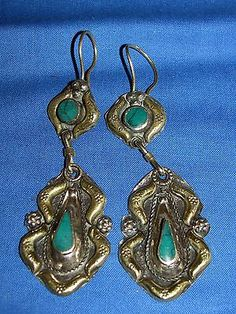 Earrings Malachite Afghan Kuchi tribal Alpaca Silver