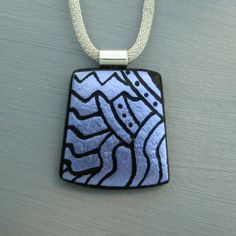 Dichroic Fused Glass  Hand Etched  Pendant Fused Glass by GlassCat, $25.00
