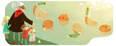 Grandmother's Day 2015 (Poland) Jan 2015 and also for my mother because my nephew LOVES his grandma! Google Doodles, Richard Scarry, Google Icons, Art Google, Logo Google, Graphic Design Illustration, Illustration Art, Grandmother's Day, Happy Grandparents Day
